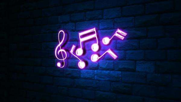 Animation of music notes in neon light at wall with blue light stock footage