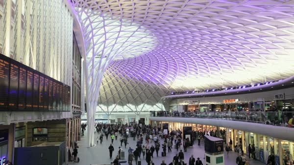 The newly refurbished Kings Cross station, London, UK. Rights-managed stock video