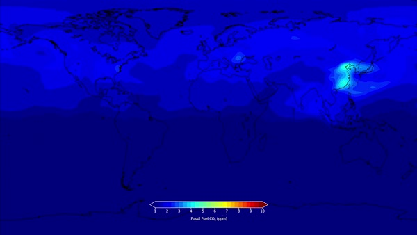 Fossil fuel CO2 release. Global dataset animation showing how atmospheric carbon dioxide (CO2) concentration changes over a two-year time period (2011-2012) due to daily emissions of CO2  Rights-managed stock video