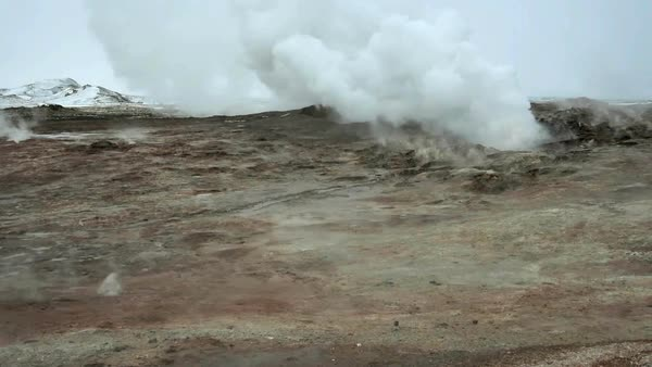 Gunnuhver hot springs. Filmed in Reykjanes, West Iceland. Rights-managed stock video