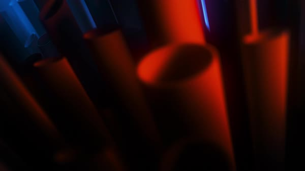 Abstract motion graphics tube loop. Shapes moving up and down, in and out of focus. Royalty-free stock video