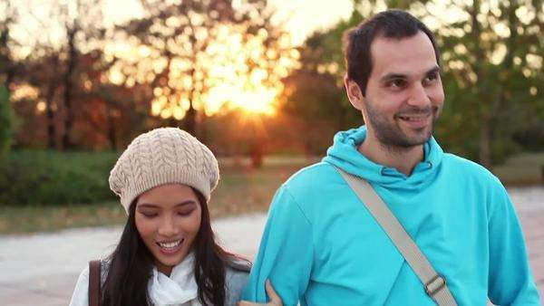 Young couple having a relaxed walk. Royalty-free stock video