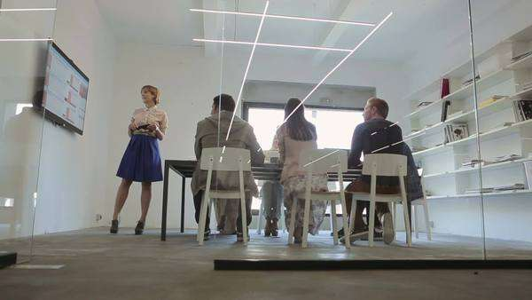 Group of business people in a meeting together. Royalty-free stock video