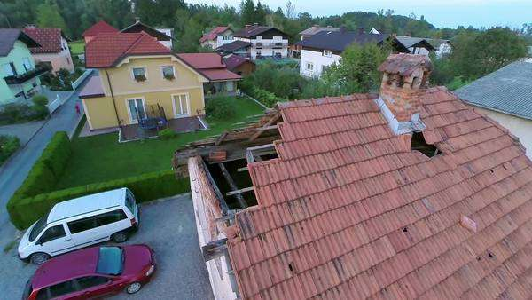 House Roof Falling Apart Aerial Shot Aerial Shot Of Old