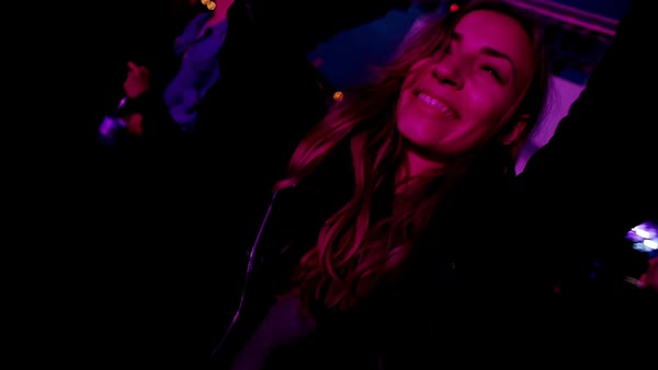 Slow motion of a woman partying at a music festival Royalty-free stock video