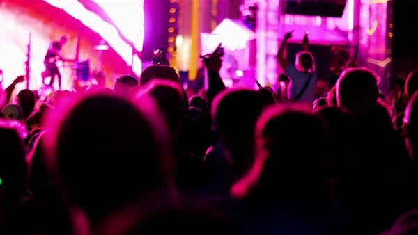 Hand-held shot of people dancing at a concert Royalty-free stock video