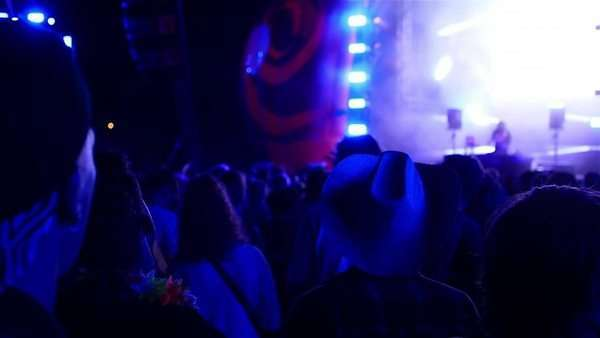Crowd in slow motion listening to techno concert in flashing light Royalty-free stock video