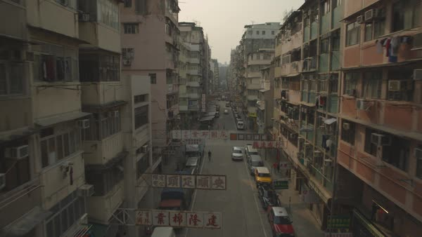 Aerial shot of a street in Hong Kong Royalty-free stock video