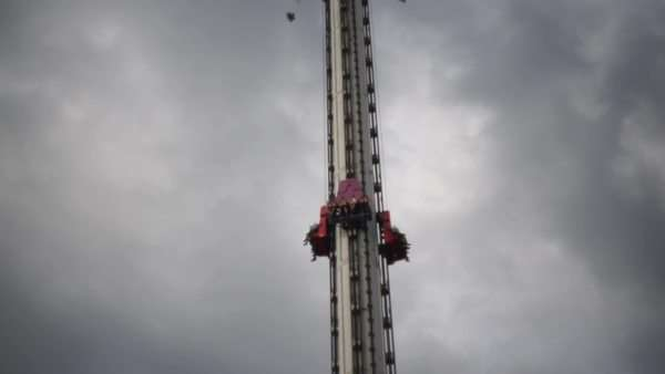 Medium shot of a drop tower Royalty-free stock video