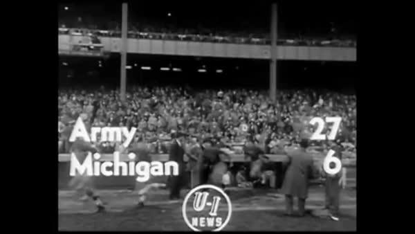 1950 newsreel highlights of the Army v. Michigan football ...