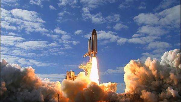 The Space Shuttle Lifts off from its launchpad. Royalty-free stock video