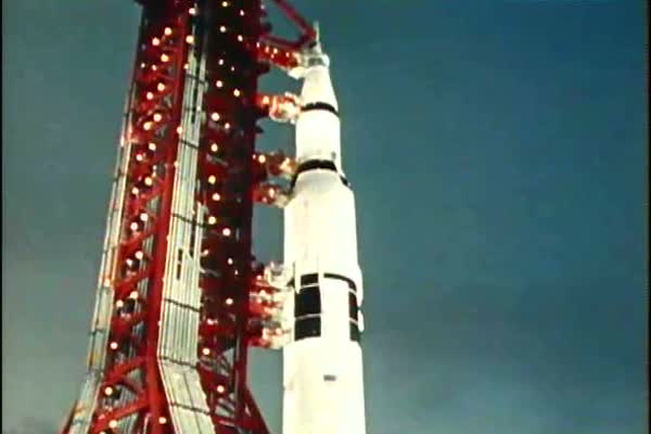 The preparation and liftoff of Apollo 11 on June 16th, 1969 at the Kennedy Space Center. Royalty-free stock video