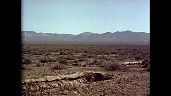 Nuclear bomb blast at Camp Desert Rock in the 1950s. Royalty-free stock video