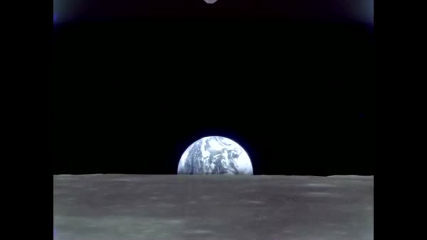 1969 - Footage of the lunar surface, and a view of Earth from the moon, is  shown from the Apollo 10  stock footage