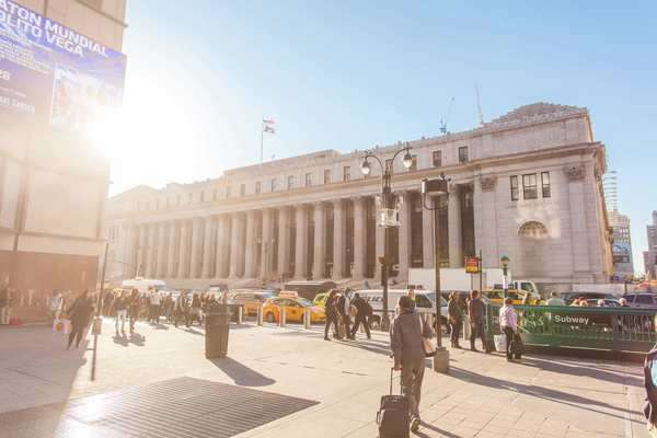 Hyperlapse shot of the James A. Farley Post Office Building in New York City Rights-managed stock video
