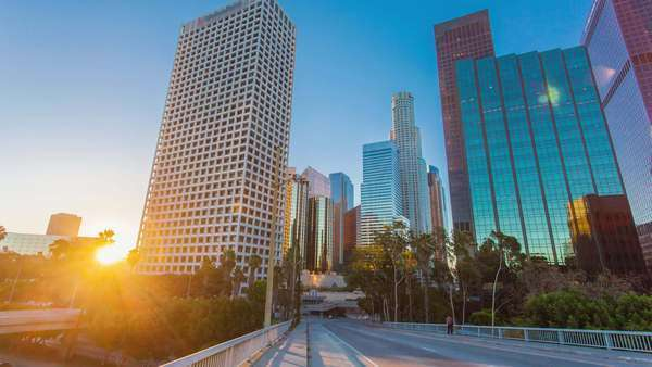 Hyperlapse Video View On Sunrise Over Downtown Los Angeles Royalty-free stock video
