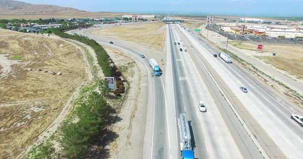 Aerial shot of a highway in California, USA Royalty-free stock video