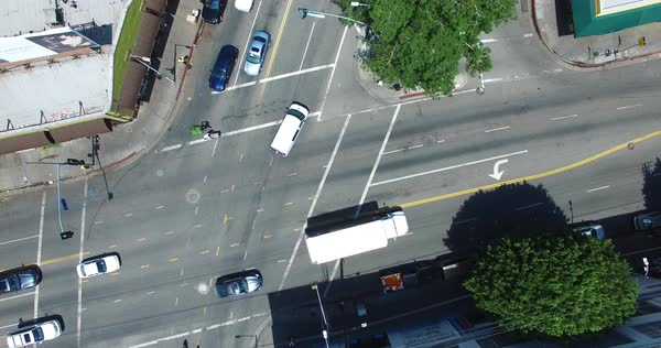 Aerial shot of an intersection in Downtown Los Angeles Royalty-free stock video