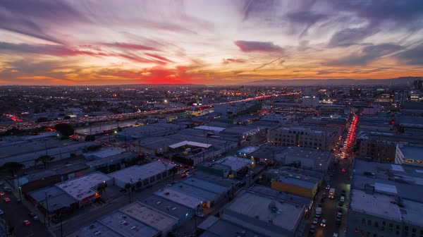 Drone shot of Los Angeles at sunset Royalty-free stock video