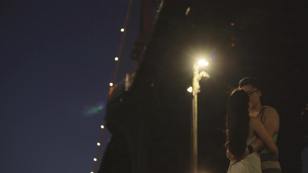 Hand-held shot of a young couple kissing under a bridge in New York City Royalty-free stock video