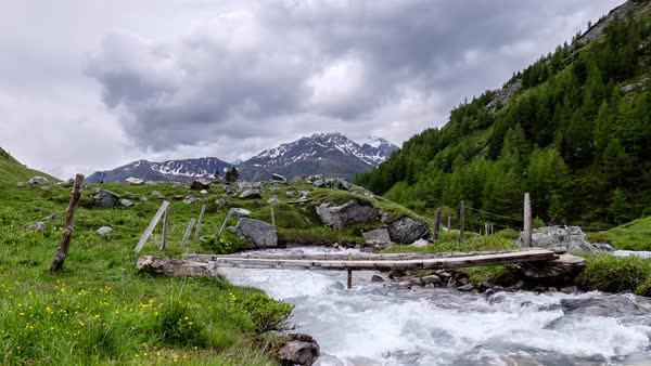 Timelapse shot of a river in Grossglockner, Austria Royalty-free stock video