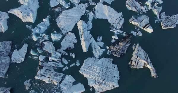 Aerial shot of ice blocks on the coast in Iceland Royalty-free stock video