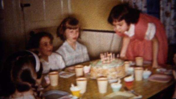 1962 Birthday Girl Blows Out Cake Candles At Home Party BUFFALO NEW YORK