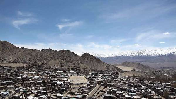 Wide shot of the city of Leh as seen from Leh Palace, India Royalty-free stock video