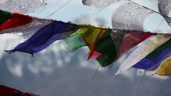 Close up shot of prayer flags blowing in the wind Royalty-free stock video
