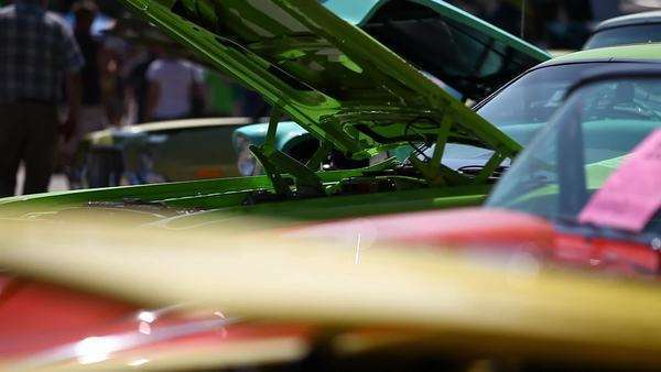 Close-up shot of vehicles at a car show Royalty-free stock video