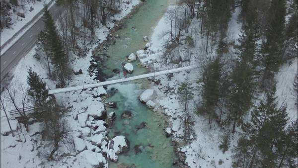 Aerial shot of Soca river in the winter Royalty-free stock video