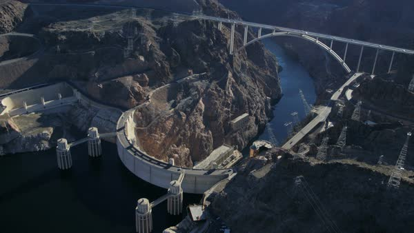 Aerial view Hoover Dam producing hydroelectricity Colorado River Bridge on US 93 near Las Vegas Nevada USA Royalty-free stock video