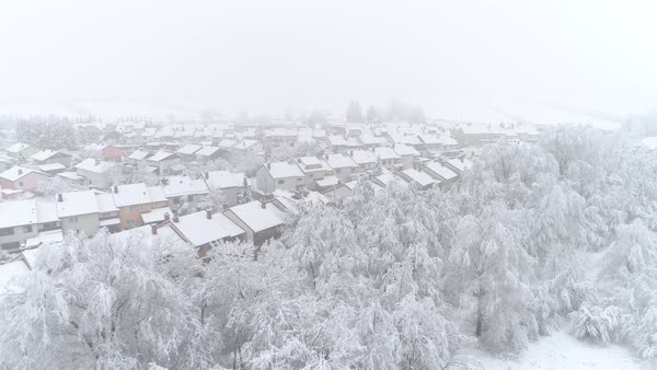 Strange Quiet Suburban Town With Roofs Covered In Fresh Snow On Winter Day Idyllic Row Houses On Snowy Winter Day Stock Footage Interior Design Ideas Skatsoteloinfo