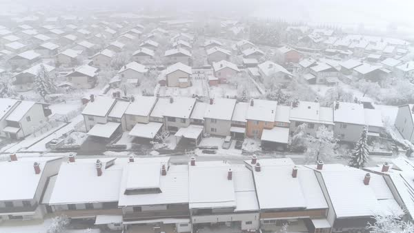 Sensational Quiet Suburban Town With Roofs Covered In Fresh Snow On Winter Day Idyllic Row Houses On Snowy Winter Day Stock Footage Interior Design Ideas Skatsoteloinfo