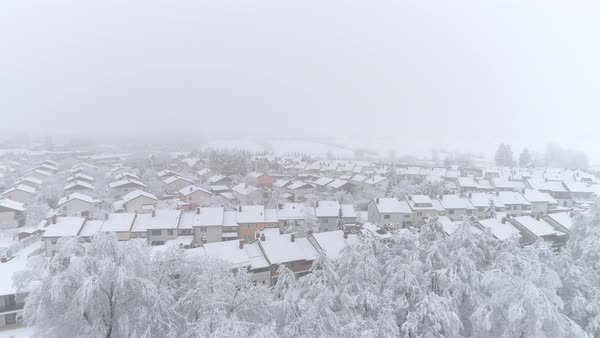 Pleasant Quiet Suburban Town With Roofs Covered In Fresh Snow On Winter Day Idyllic Row Houses On Snowy Winter Day Stock Footage Interior Design Ideas Skatsoteloinfo