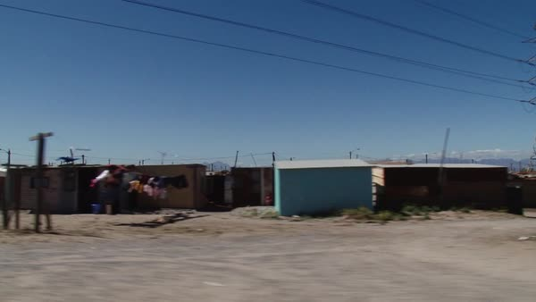 Point of view shot of small shacks in Africa Rights-managed stock video