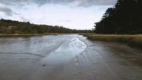 Drone shot of a riverbed in Maine Royalty-free stock video
