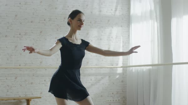 Young ballerina jumping in slow motion Royalty-free stock video