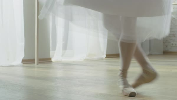 Close-up shot of ballerina's legs dancing en pointe Royalty-free stock video