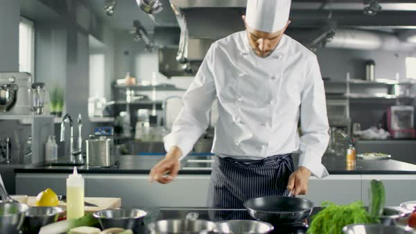 Chef Preparing His Dish, Turns on Stove and Puts Pan with Oil on it. Royalty-free stock video