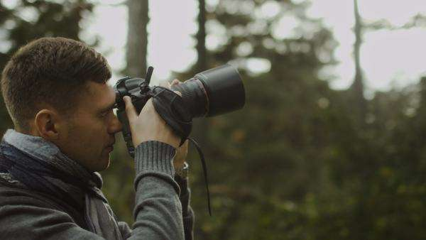 Male photographer is taking photographs in a forest at autumn time. Royalty-free stock video