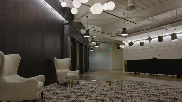 wide shot panning shot of lobby in modern office Royalty-free stock video