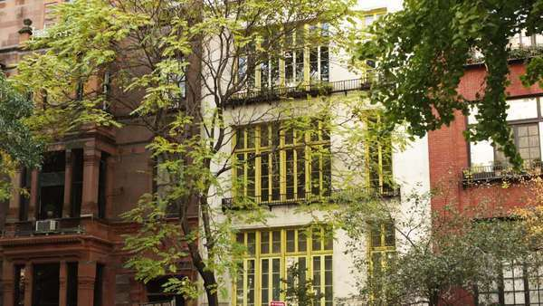 MS Building exterior with trees in foreground, Gramercy Park, New York City, New York Royalty-free stock video