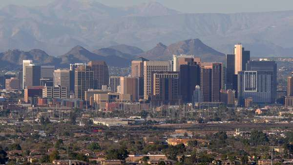 Downtown Phoenix Skyline On A Clear Day Stock Video
