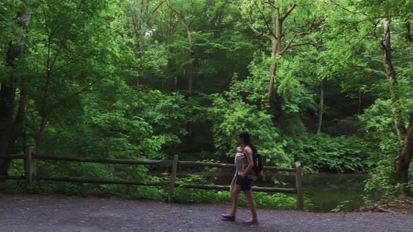 Wide shot of a woman walking with her baby in a forest Royalty-free stock video
