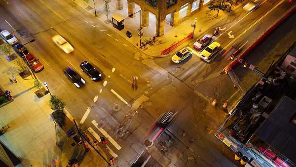 Birds eye view timelapse of Philadelphia street, nightscape Rights-managed stock video