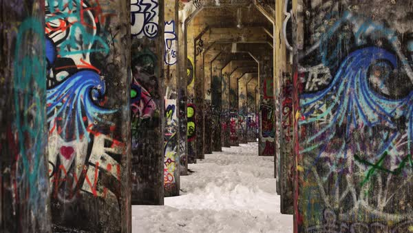 Medium shot of painted walls in Graffiti Pier, Philadelphia, PA, USA Royalty-free stock video