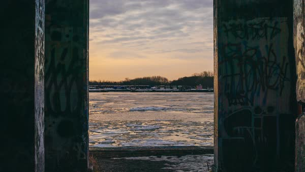 Timelapse shot of river Delaware at Graffiti Pier in Philadelphia, PA, USA Royalty-free stock video