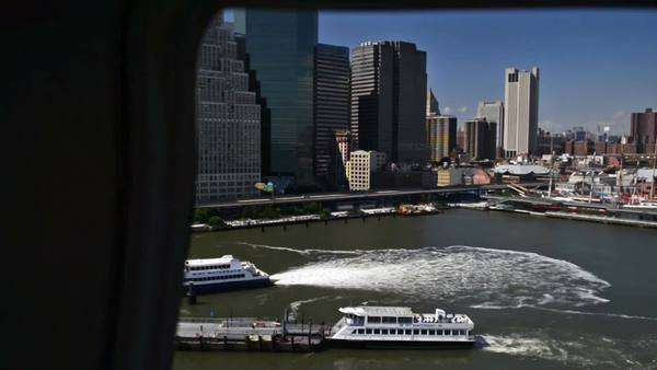 New York flying over lower Manhattan with helicopter Royalty-free stock video