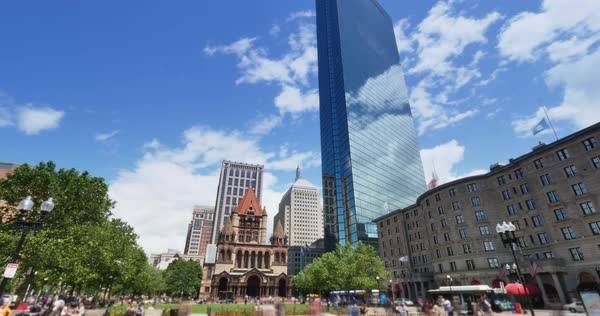 A summer timelapse view of the busy Copley Square in downtown Boston.    Royalty-free stock video